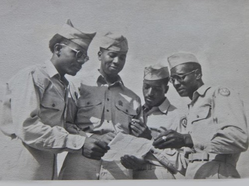Wilson Monk (third from left) and other men from the 320th.