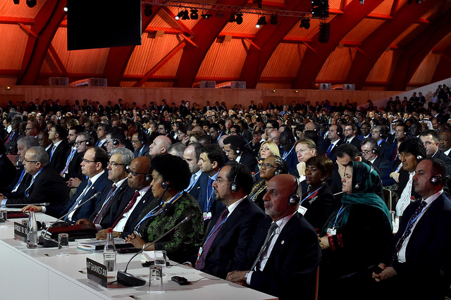 World leaders at the COP21 conference on climate change in Paris, France.