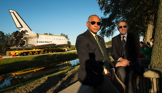 NASA Administrator Charles Bolden, left, and Kennedy Space Center director Robert Cabana pose for a photo as space shuttle Atlantis rolls toward its new home at the Kennedy Space Center Visitor Complexi n Cape Canaveral, Fla. in 2012.