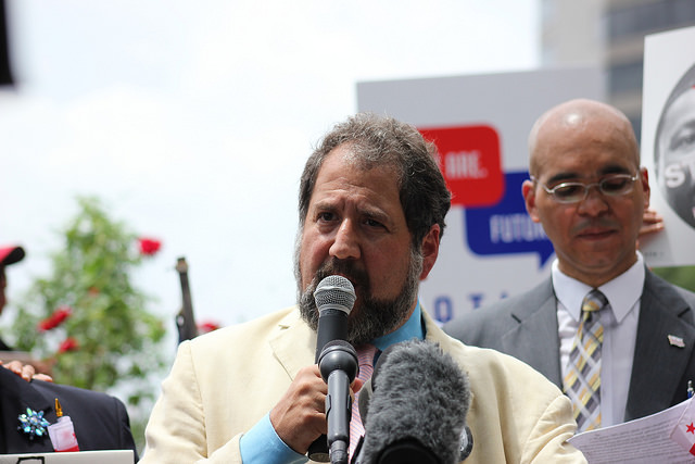 D.C. Senator Paul Strauss at a July 2015 political rally at Freedom Plaza.