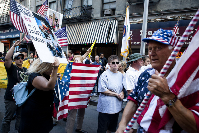 """Protestors opposing what became known as the """"Ground Zero Mosque"""" on Sep. 11, 2010"""