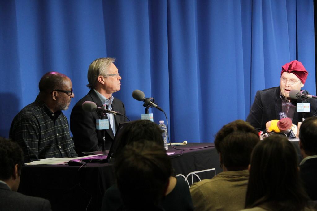 Kojo Nnamdi, Tom Sherwood and Adam Eidinger (L-R) at The Politics Hour at WAMU on Feb. 5, 2016.