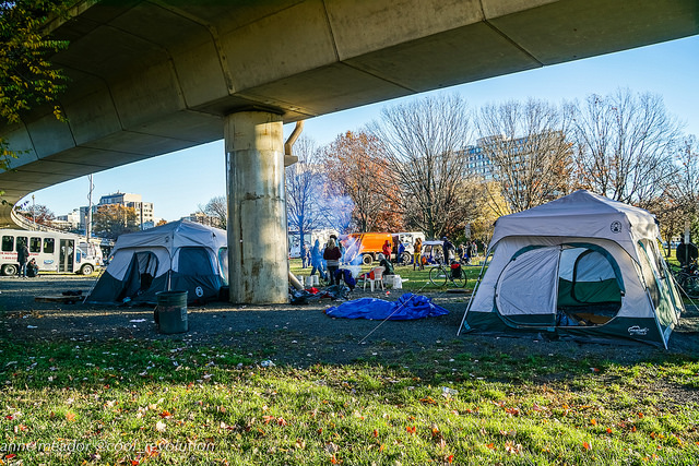 An encampment in Foggy Bottom, Washington D.C.
