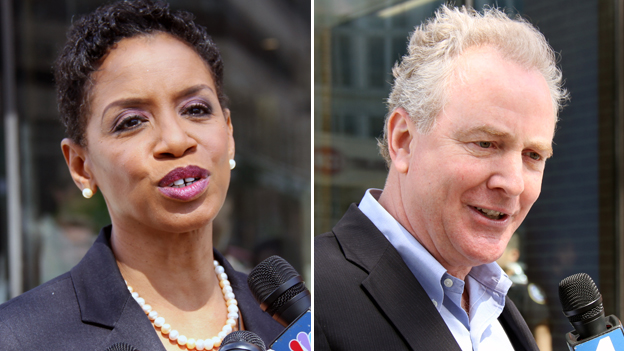 Democratic candidates for Maryland's Senate seat Rep. Donna Edwards (Md-4) and Rep. Chris Van Hollen (Md-8).