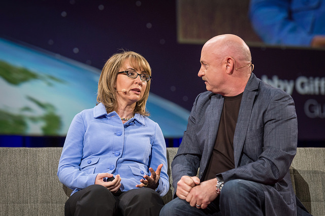 Gun restriction advocates Gabby Giffords and Mark Kelly at the 2014 TED Talk in Vancouver, Canada.