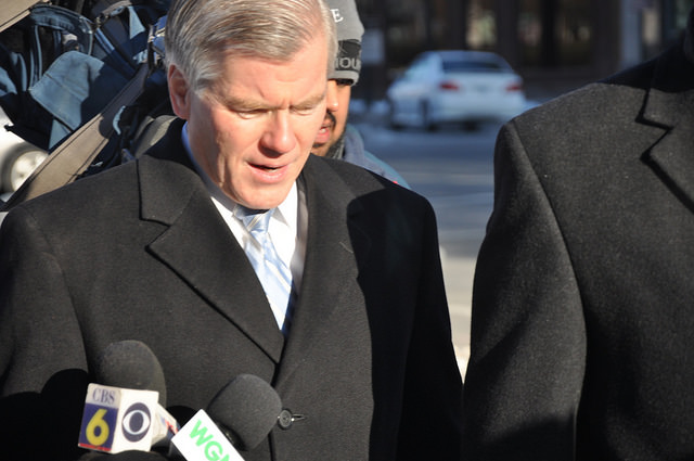 Former Virginia Governor Bob McDonnell leaving the federal courthouse in downtown Richmond, Va. in 2015.