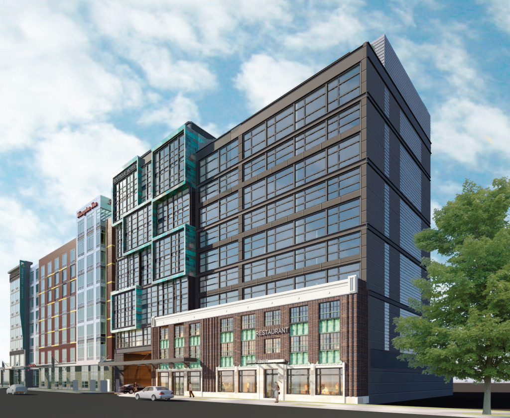 An architectural rendering of the proposed boutique hotel on New York Ave. in Northeast D.C.