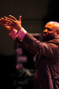 Allyn Johnson conducting at the 2013 Calvin Jones Big Band Jazz Festival.