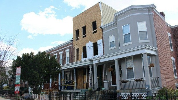A house on Adams Street NW owned by the Hofgards. D.C. stopped construction on it last year.