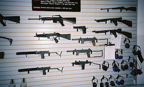 Guns on display at a Las Vegas shooting range.