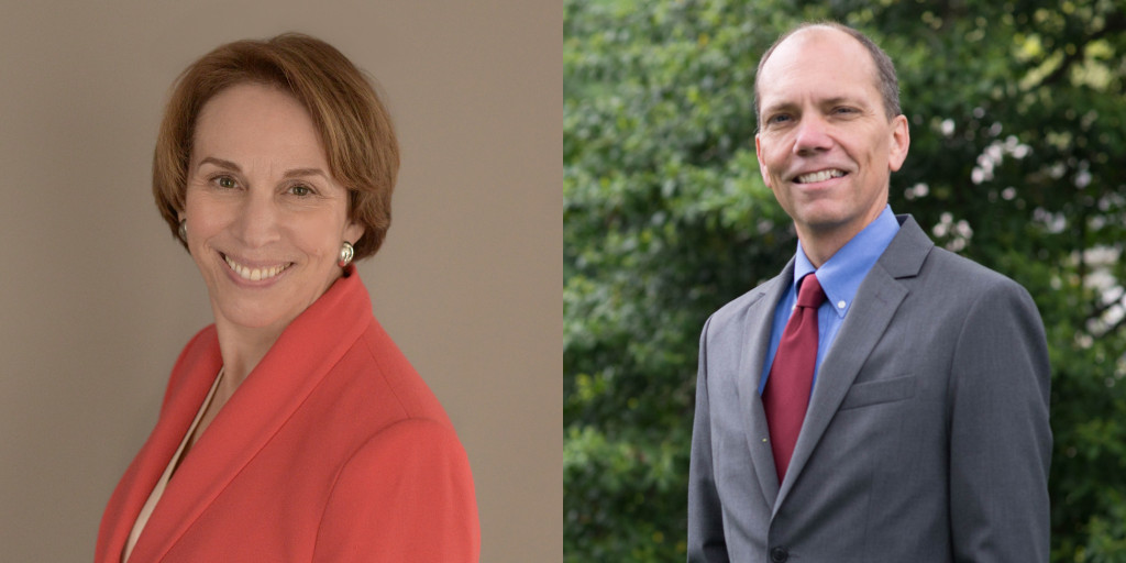 Libby Garvey (left) and Erik Gutshall (right) are both running for a seat on the Arlington County Board.