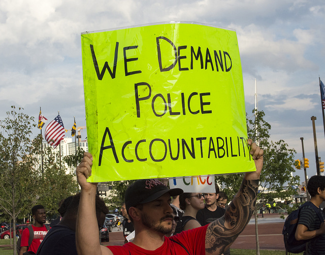 A protester in Baltimore in July, 2016