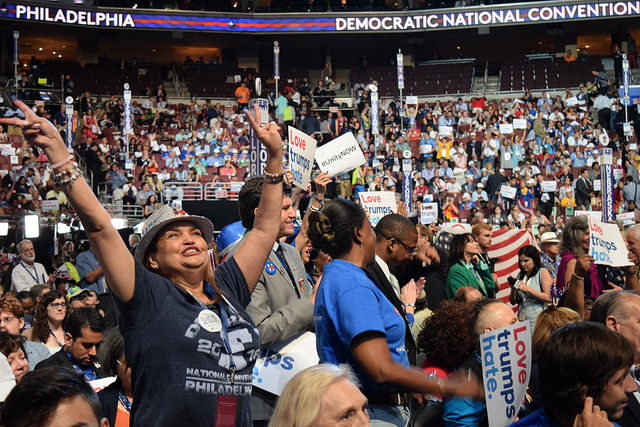 Attendees at the 2016 Democratic National Convention at the Wells Fargo Center in Philadelphia, Pa.