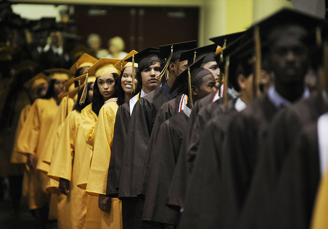 Meade High School seniors line up for the school's 2012 graduation ceremony.