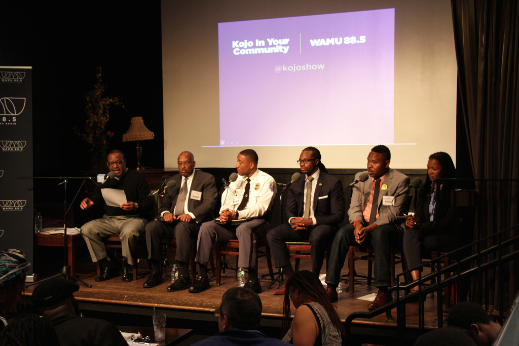 """Kojo Nnamdi and panelists at a """"Kojo In Your Community"""" event in Hyattsville in 2015."""