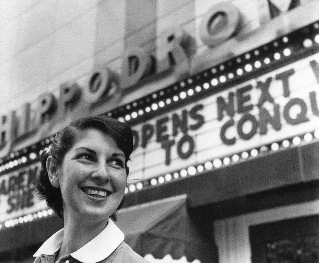 Arena Stage co-founder Zelda Fichandler in front of the company's first theater venue The Hippodrome, the week before the theater's opening on August 16, 1950.
