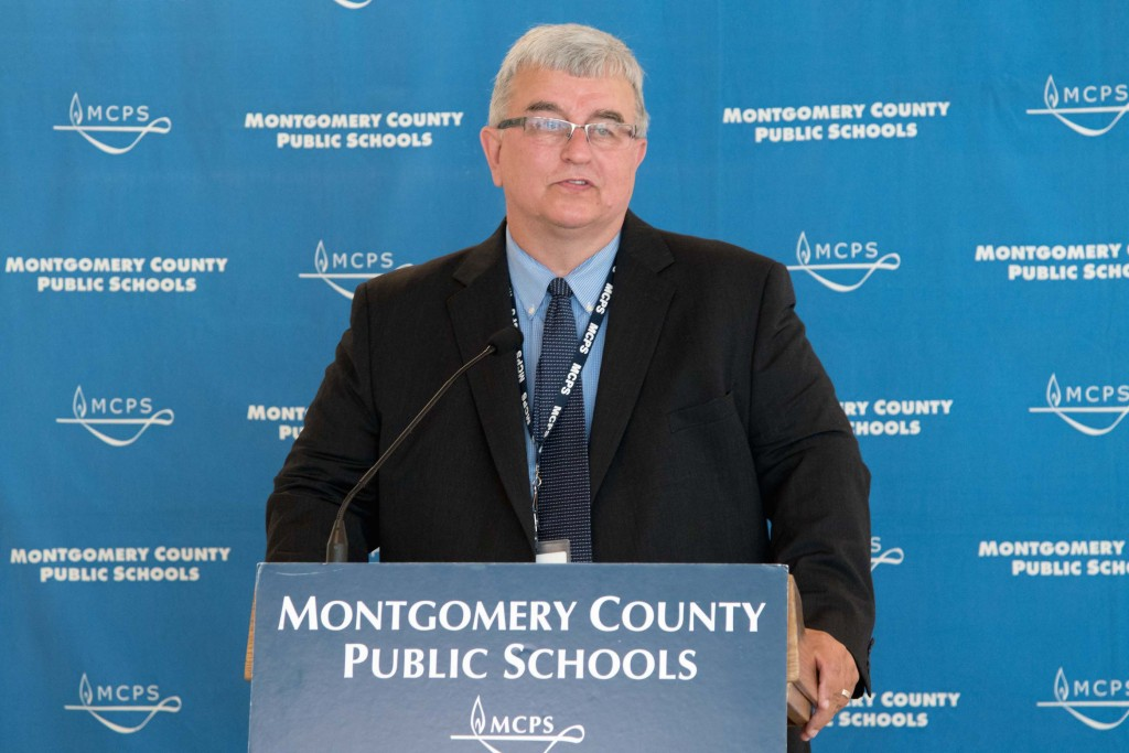 Montgomery County's new school superintendent Jack Smith at the Drive for Supplies Celebration at Wootton High School.
