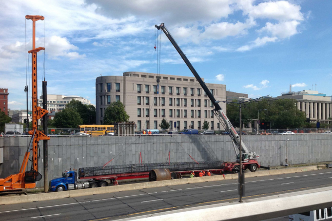 Construction has begun on the 3rd Street Bridge Project, which will hold up Capitol Crossing, five mixed-use buildings on three new city blocks.