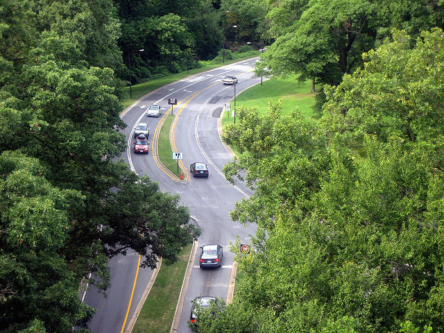 Rock Creek Parkway and Beach Drive from the Taft Bridge.