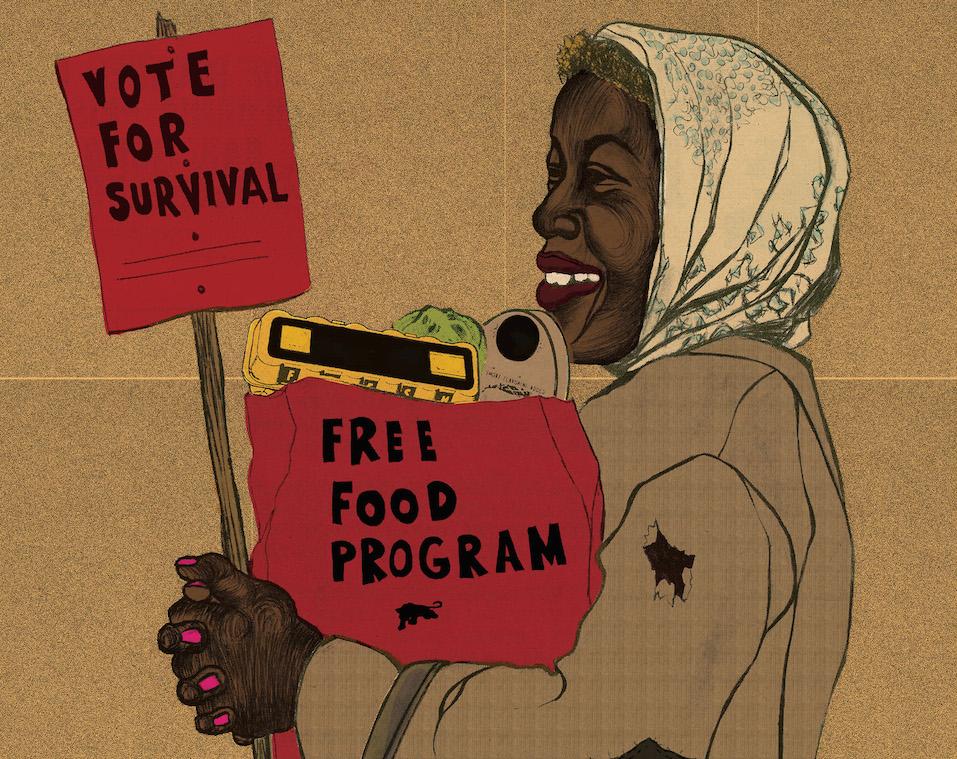 "Emory Douglas' ""Vote For Survival."""