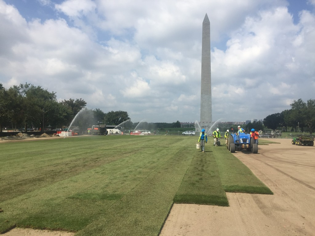 A tractor lays sod as part of the $40 million renovation of the National Mall.