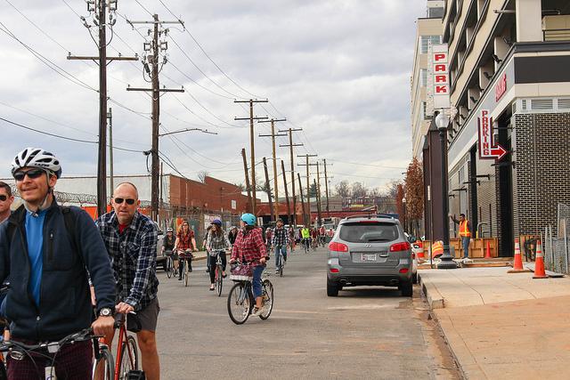 Bikers ride through Ivy City in D.C.