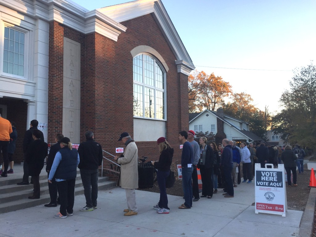 The polling lines at Lafayette Elementary School on Election day.