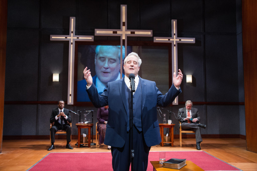 "Justin Weaks, Michael Russotto and Michael Willis in ""The Christians"" at Theater J."