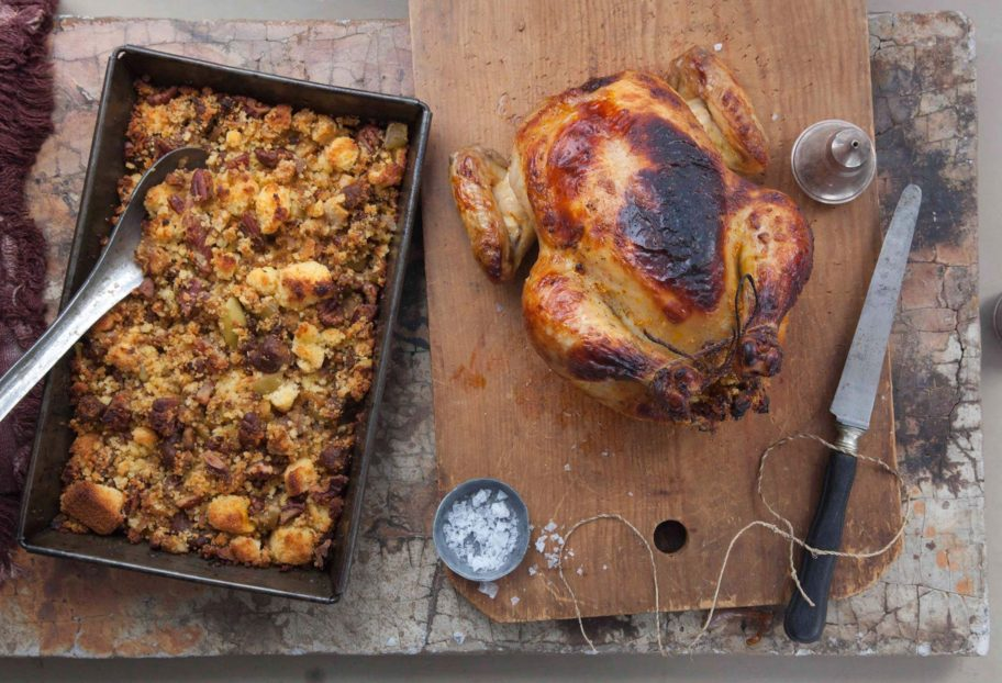 Pati Jinich's Thanksgiving turkey and chorizo, apple and corn bread stuffing.