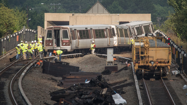 A Silver Line train derailed on July 29, 2016, near the East Falls Church station.
