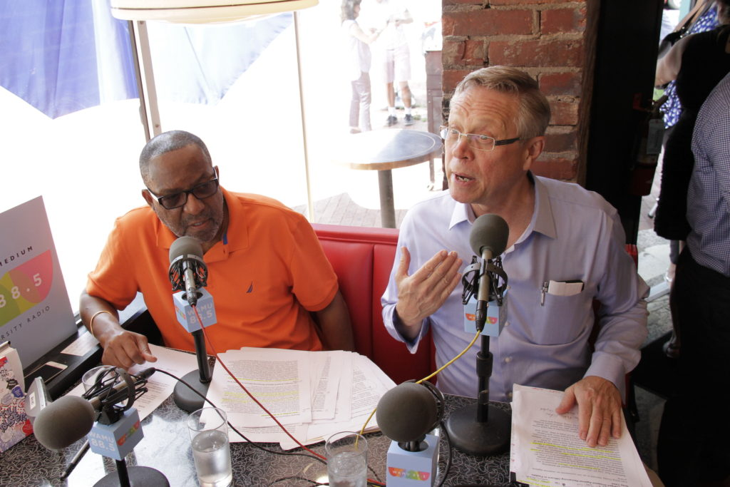 Kojo Nnamdi and Tom Sherwood broadcasting live from Slim's Diner in Petworth.