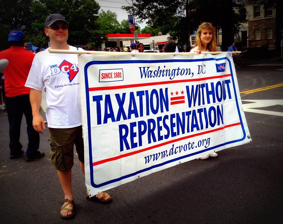 D.C. voting rights activists at the 2013 Palisades Citizens' Association Fourth of July Parade