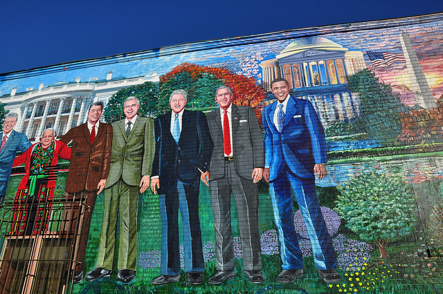 A mural of U.S. presidents outside Mama Ayesha's, a longtime Middle Eastern restaurant in Adams Morgan.