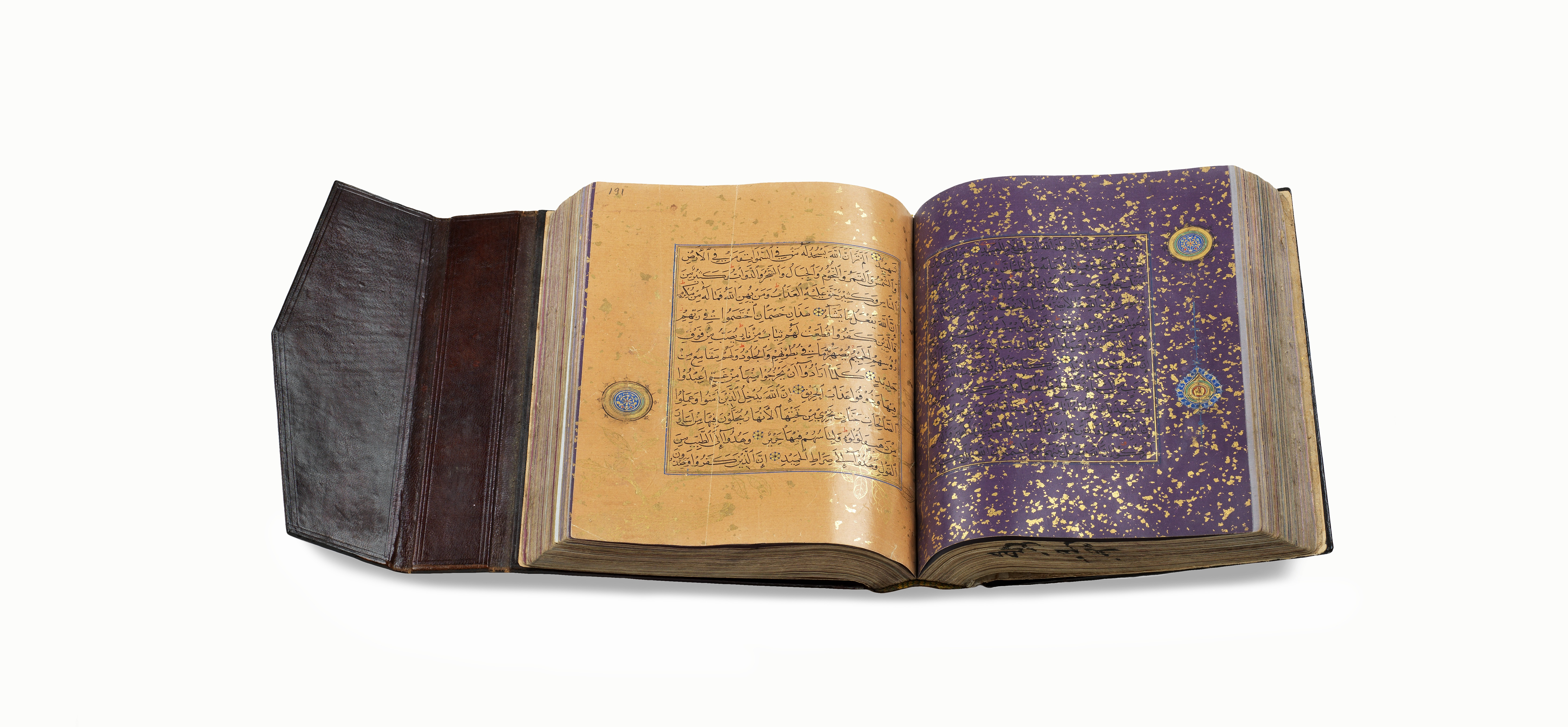 This Qur'an is from the Timurid period, circa 1440, and is decorated with gold leaf on colored paper.