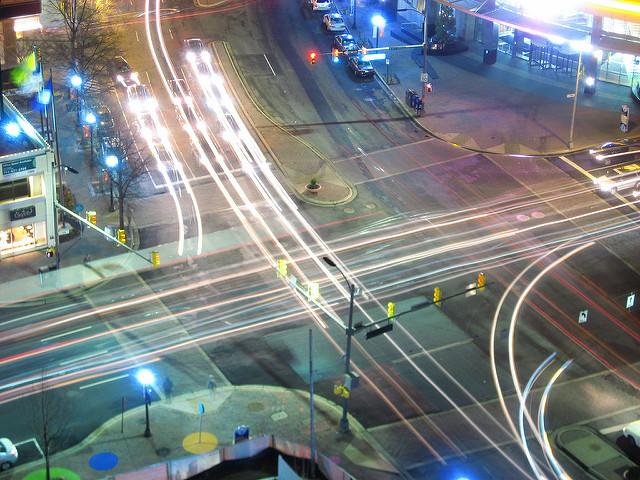 Traffic in Rosslyn, Va. at Wilson Boulevard and North Lynn Street.