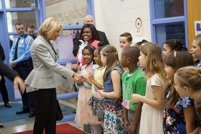 U.S. Education Betsy DeVos, a voucher advocate, visiting a school in Virginia
