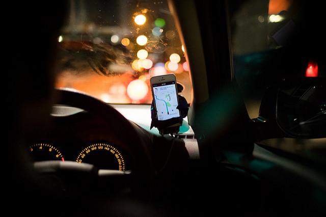 Apple's Maps app navigates a driver to a destination.