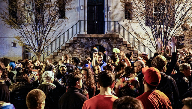 A 2017 protest descends up on the house of Ivanka Trump and Jared Kushner, in D.C.'s Kalorama neighborhood.