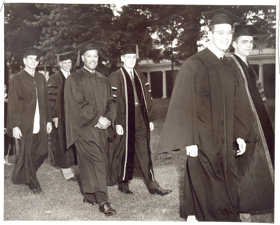 Walter Nathaniel Ridley (third from left)  graduating in 1953. He was the first black student to receive a doctoral degree from the University of Virginia.