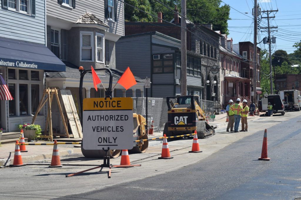 Repairs in Ellicott City, Maryland after last summer's historic flooding.