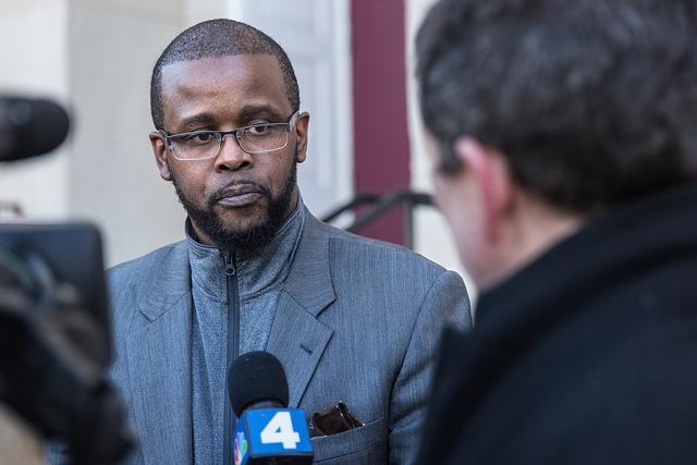 Antwan Wilson, chancellor of DC Public Schools, speaking outside Jefferson Middle School in Southwest D.C. in February 2017.