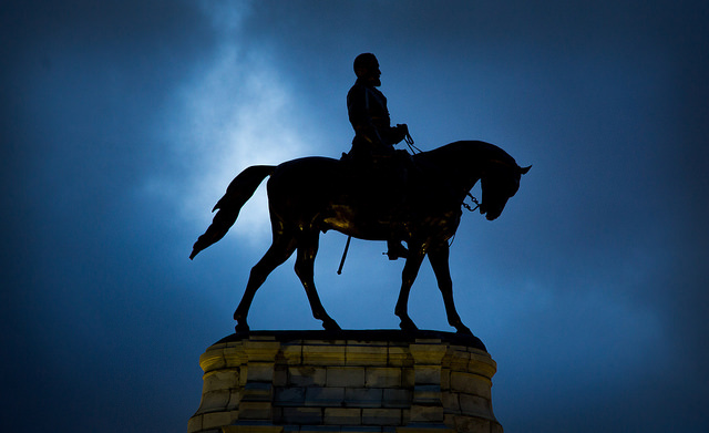 The Robert E. Lee monument on Monument Avenue in Richmond, Va.