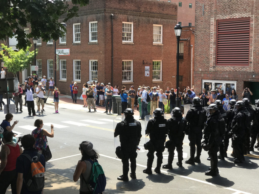 Police line in Charlottesville