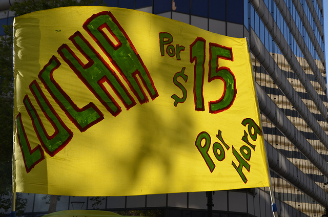 Fight for $15 protest sign