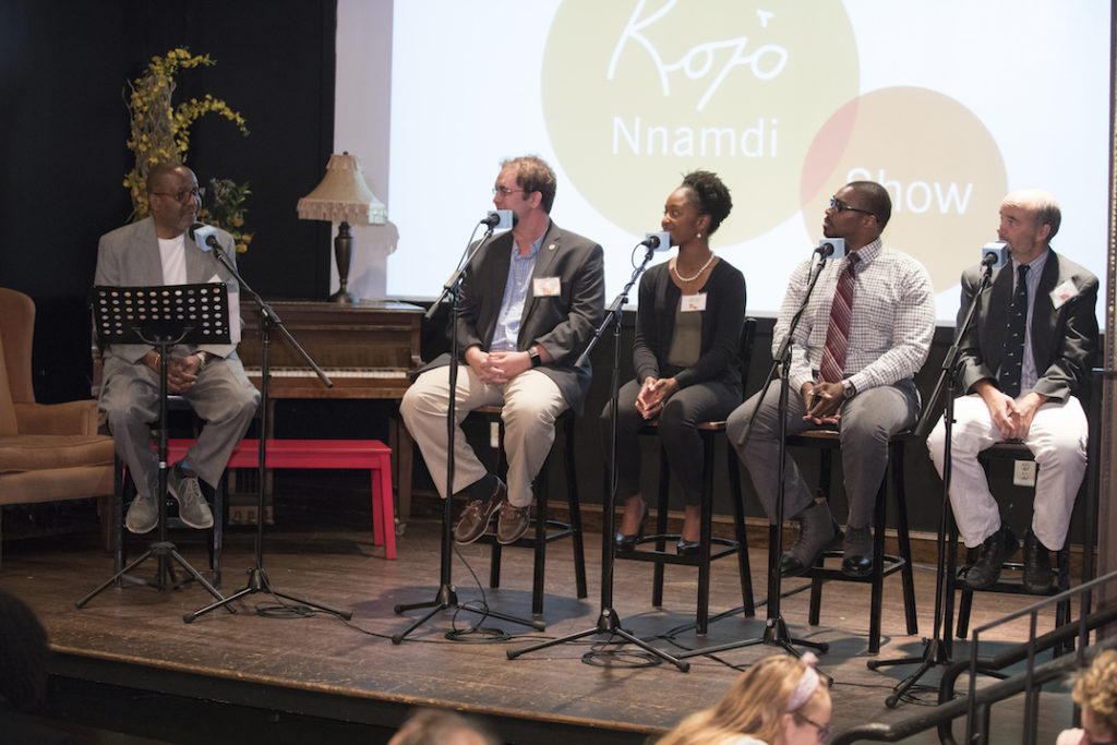 Kojo and panelists at Busboys and Poets in Hyattsville, Md.
