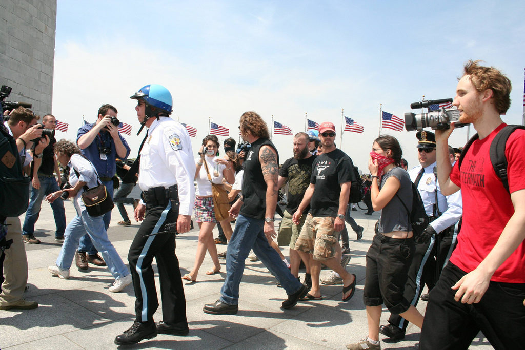 A clash of protesters at the Washington Monument.