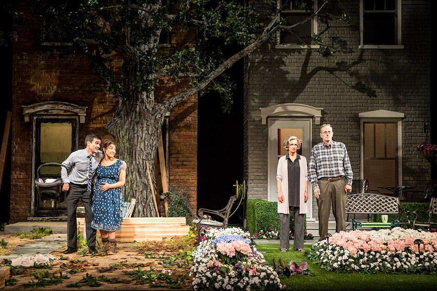 Dan Domingues as Pablo Del Valle, Jacqueline Correa as Tania Del Valle, Sally Wingert as Virginia Butley and Steve Hendrickson as Frank Butley in Native Gardens, running September 15-October 22, 2017 at Arena Stage at the Mead Center for American Theater.