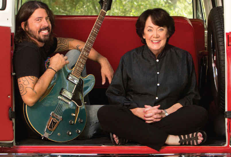 Virginia Hanlon Grohl and her son Dave (left).