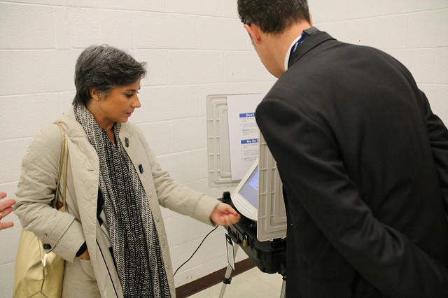One of Virginia's electronic voting machines in 2014.