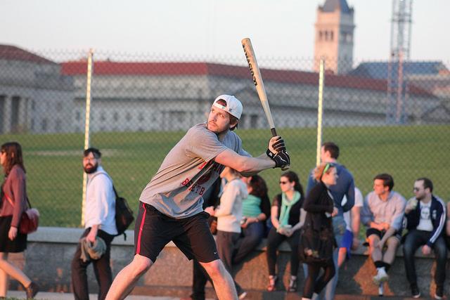 Softball players at the Washington Monument